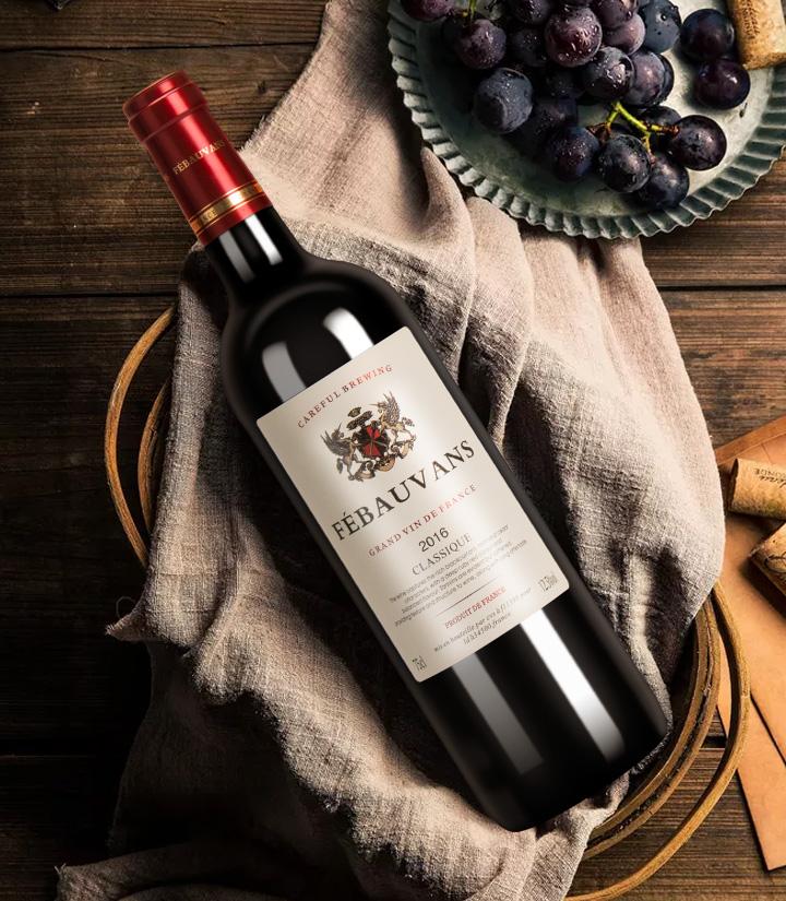 12.5°法国菲宝梵斯2016干红葡萄酒750ml